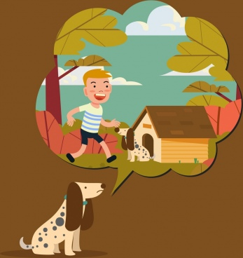 memory background dog speech bubble boy icons decor