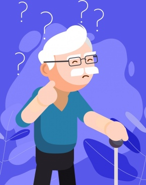 memory background old man question marks icons decor