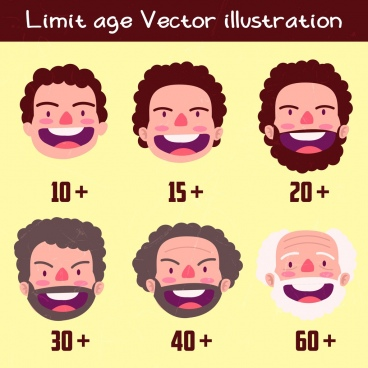 men age icons faces numbers illustration
