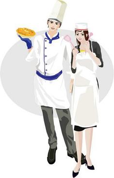 men and women cook vector