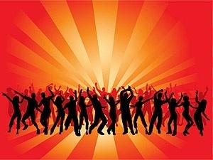 men and women dancing in silhouette figures vector