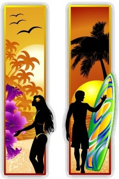 men and women silhouette with travel banner vector