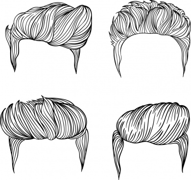 men hairstyles collection black white sketch