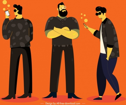 men lifestyle icons cartoon characters modern lifestyle design