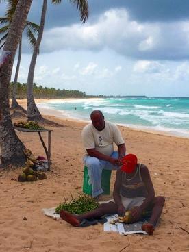 men on the beach