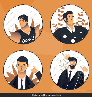 men portraits avatars cartoon characters sketch classical design