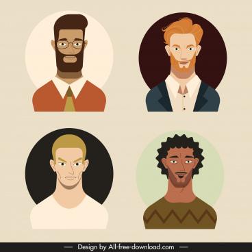 men portraits avatars colored cartoon sketch