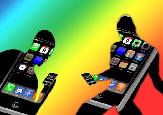 men silhouettes phone