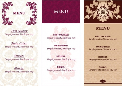 restaurant menu templates elegant decor classic design