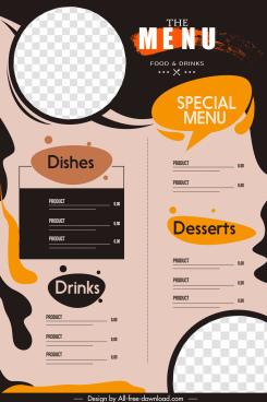 menu background template dark elegant classical grunge flat