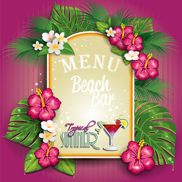 menu beach bar flower vector