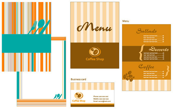 menu card template vector graphic