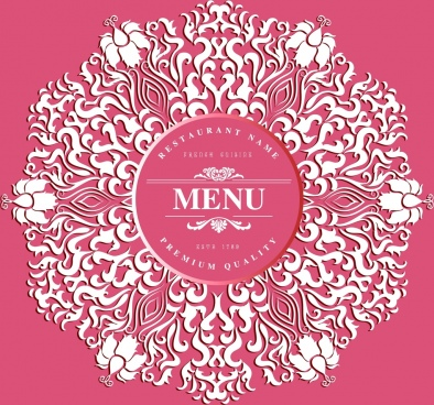 menu cover background pink decor classical curves