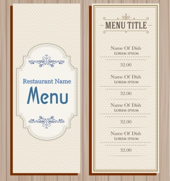 menu cover template classical design