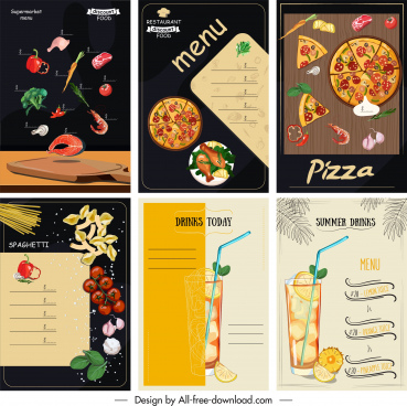 menu cover template colorful classical food drink decor