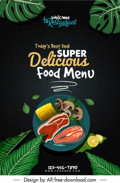 menu cover template dark elegance food leaf sketch
