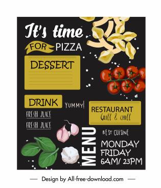 menu cover template ingredients sketch colorful dark decor