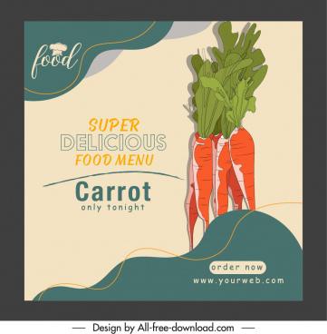 menu cover template retro handdrawn carrot sketch