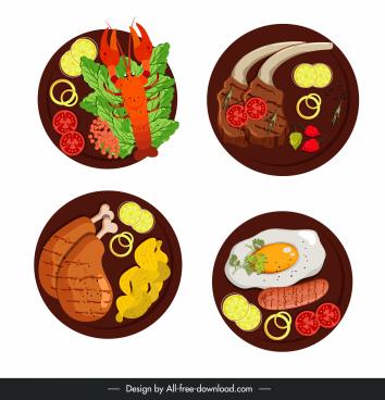 menu design elements cuisines sketch colorful flat sketch