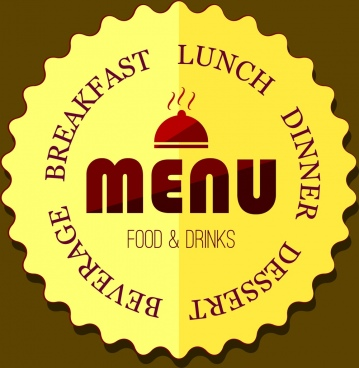 menu label design yellow serrated circle style