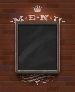 menu labels and brick wall design vector