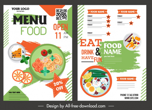 menu template bright colorful flat decor