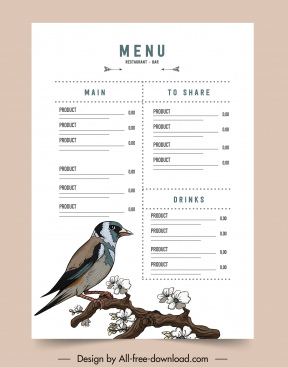 menu template bright design elegant bird flora decor