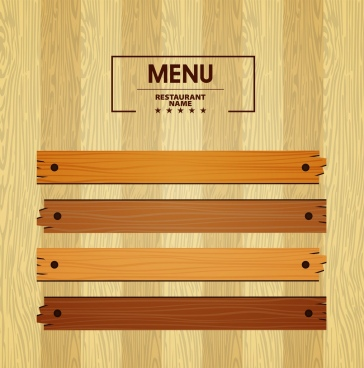 menu template bright wooden pattern decoration