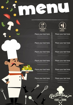 menu template chef icon classical food utensils decor