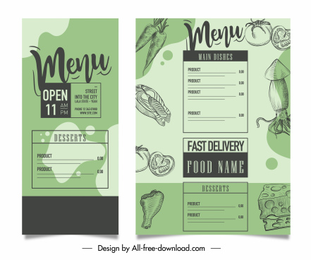 menu template classical handdrawn decor
