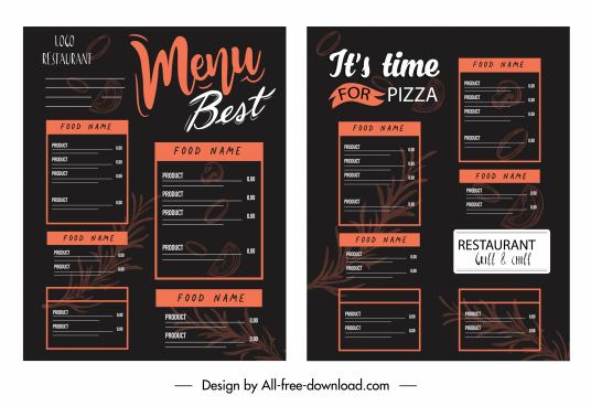 menu template dark black decor classic design