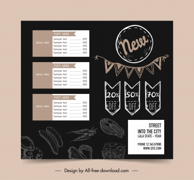 menu template dark decor handdrawn sketch