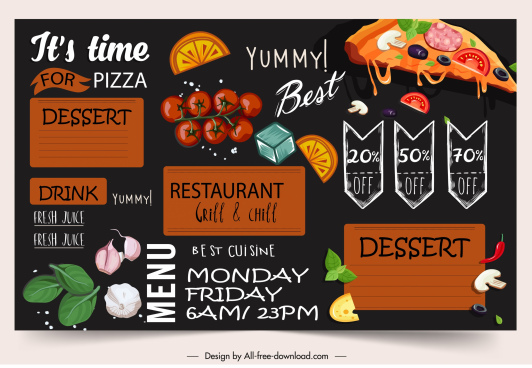 menu template food ingredients sketch elegant colorful dark