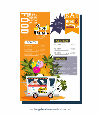 menu template food truck ice cream tree decor