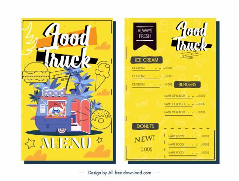 menu template food truck sketch colorful design