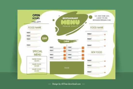 menu template grunge bright white green plain decor