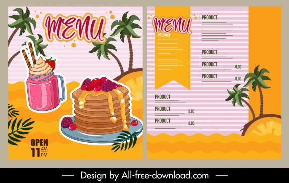 menu template sea elements dessert sketch colorful classic