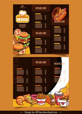 menu templates dark handdrawn decor trifold classic design