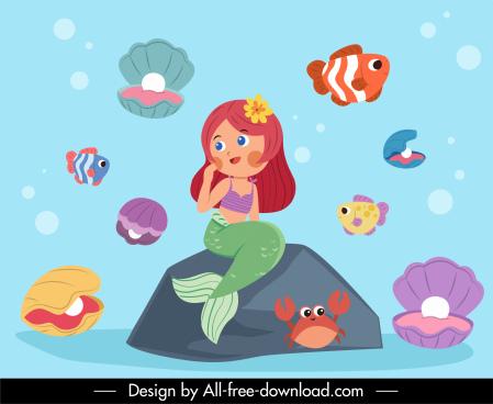 mermaid background colorful cartoon sketch marine species decor
