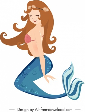 mermaid icon young attractive girl sketch cartoon character