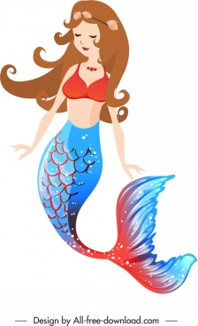 mermaid icon young girl cartoon character design
