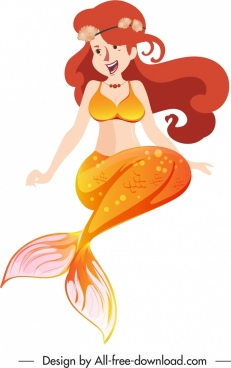 mermaid icon young girl sketch cartoon character