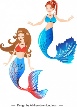 mermaid icons beautiful girls sketch cartoon design