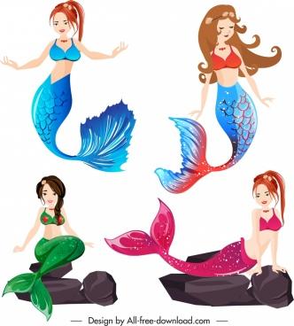 mermaid icons beautiful young girls sketch cartoon design