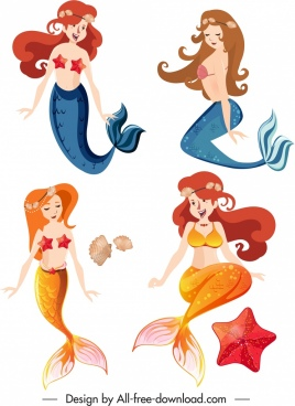 mermaid icons colored cartoon characters sketch