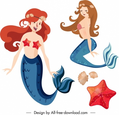mermaid icons cute girls colored cartoon characters sketch