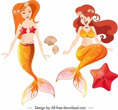 mermaid icons cute girls sketch cartoon characters design