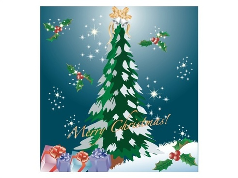 christmas template with fir tree on sparkling sky