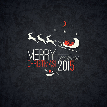 merry christmas and15 new year dark background