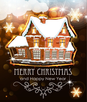 Merry christmas new year greeting card sample free vector download ...